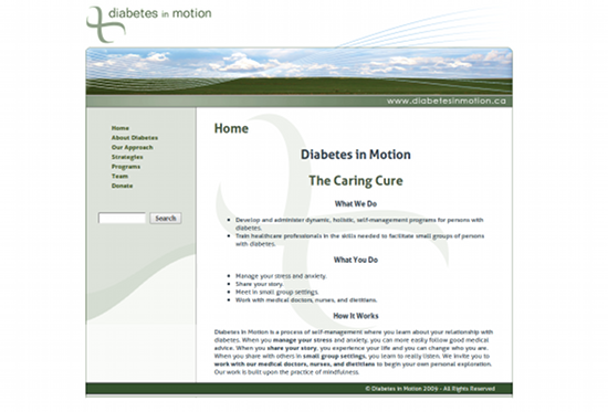 Screenshot from Diabetes in Motion site.