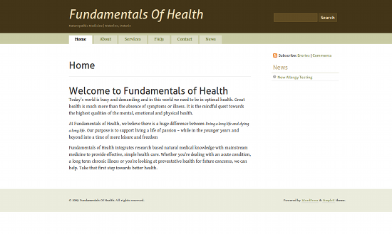 Screenshot from Fundamentals of Health site.